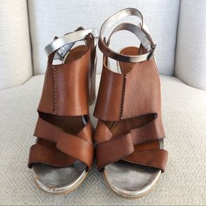 SixtySeven Cognac Leather and Silver Heels